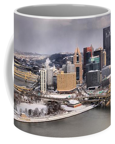 Pittsburgh Skyline Coffee Mug featuring the photograph Stormy Winter Skies Over The Point by Adam Jewell