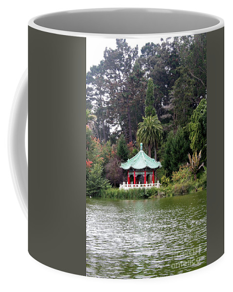 San Francisco Coffee Mug featuring the photograph Stow Lake Chinese Pavilion by Christiane Schulze Art And Photography