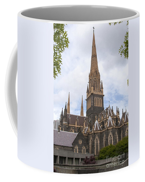 Melbourne Australia St. Patricks Cathedral Saint Paul Cathedral Catholic Church Churches Place Places Of Worship City Cities Cityscape Cityscapes Building Buildings Structure Structures Architecture Landmark Landmarks Coffee Mug featuring the photograph St.patrick's Cathedral by Bob Phillips