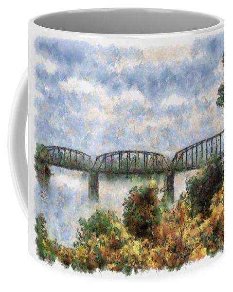 Strang Coffee Mug featuring the painting Strang Bridge by Jeffrey Kolker