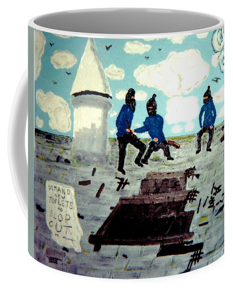 Historical Art Coffee Mug featuring the painting Strangeways Prison Riots Uk.1990s by MERLIN Vernon