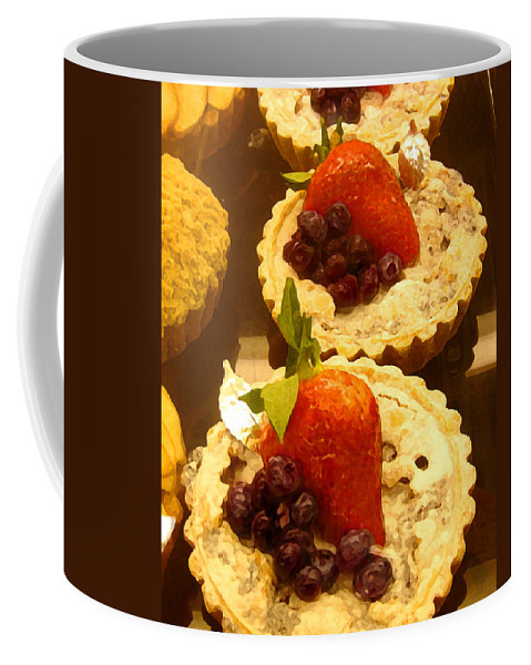 Food Coffee Mug featuring the painting Strawberry Blueberry Tarts by Amy Vangsgard