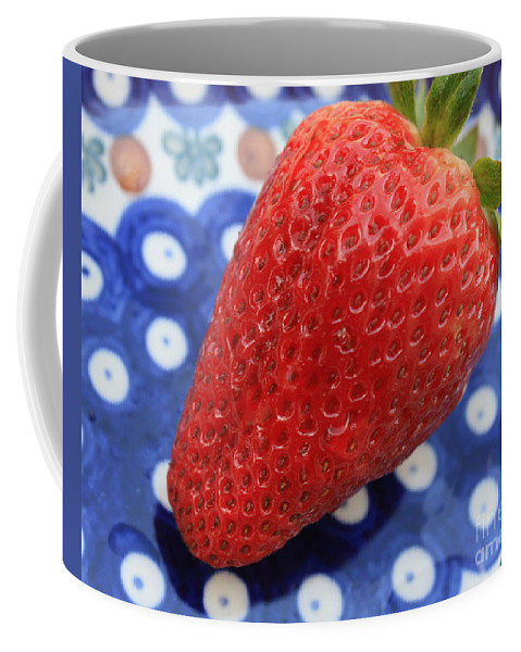 Strawberry Coffee Mug featuring the photograph Strawberry On Blue Plate by Carol Groenen