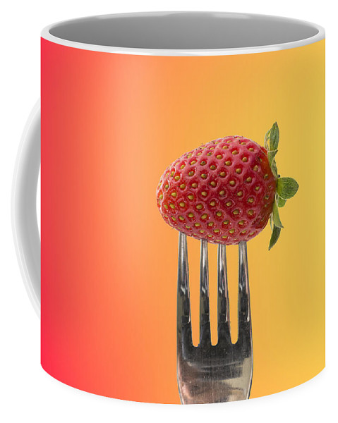 Background Coffee Mug featuring the photograph Strawberry On Fork by Paulo Goncalves