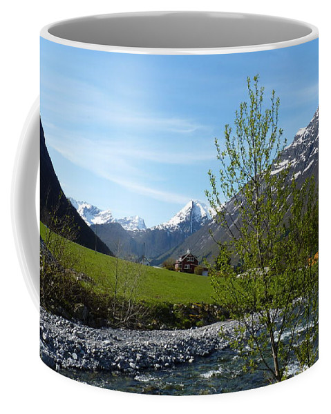 Coffee Mug featuring the photograph Stream To The Fjord by Katerina Naumenko