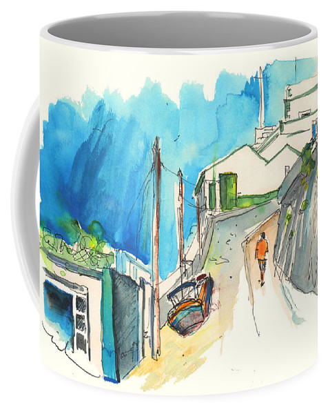 Portugal Art Coffee Mug featuring the painting Street In Ericeira In Portugal by Miki De Goodaboom