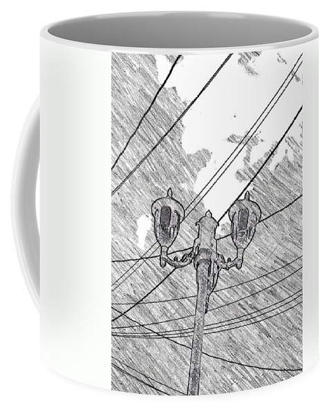 Lamp Coffee Mug featuring the drawing Street Lamps And Straight Lines by Kathleen Odenthal