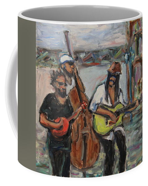 Music Coffee Mug featuring the painting Street Performance - Left Hand 2 by Xueling Zou