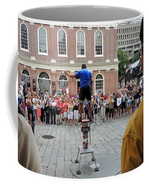 Perform Coffee Mug featuring the photograph Street Performer Faneuil Hall Market Boston by Mim White
