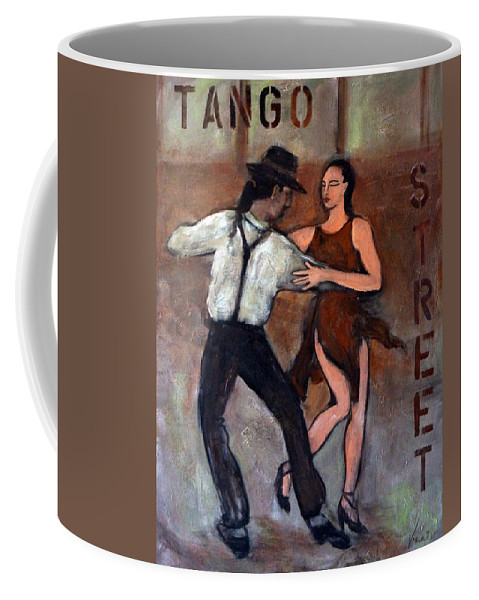 Tango Coffee Mug featuring the painting Tango Street by Valerie Vescovi