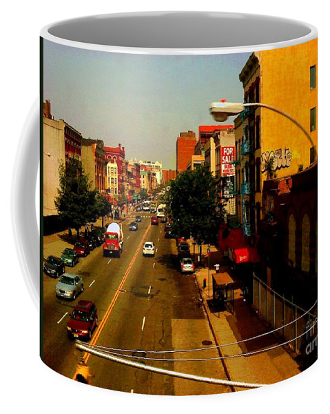 New York Coffee Mug featuring the photograph Street With Bus Stop by Miriam Danar
