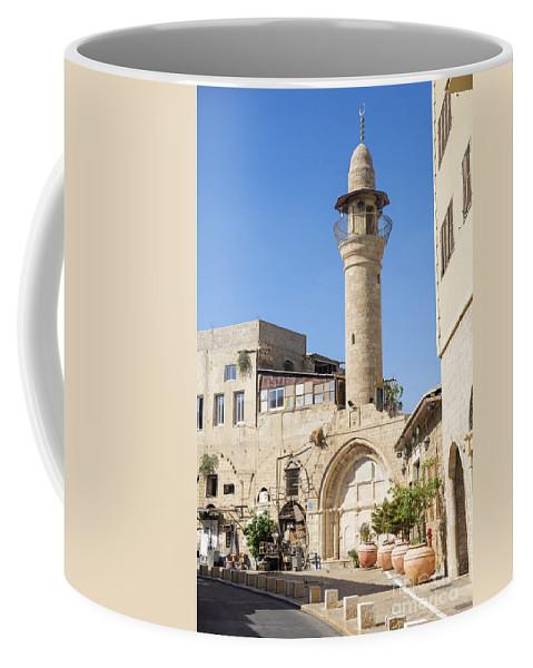 Arab Coffee Mug featuring the photograph Street With Minaret In Tel Aviv Israel by Jacek Malipan