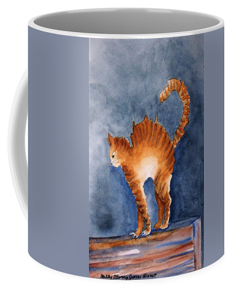 Cat Coffee Mug featuring the painting Stressed by Sally Storey Jones