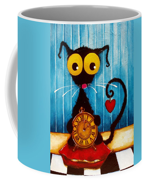 Stressie Cat Coffee Mug featuring the painting Stressie Cat And The Tick Tock by Lucia Stewart