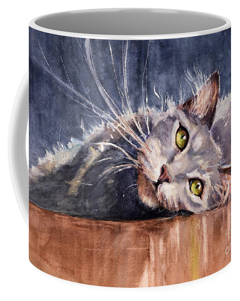 Cat Coffee Mug featuring the painting Stretch by Judith Levins