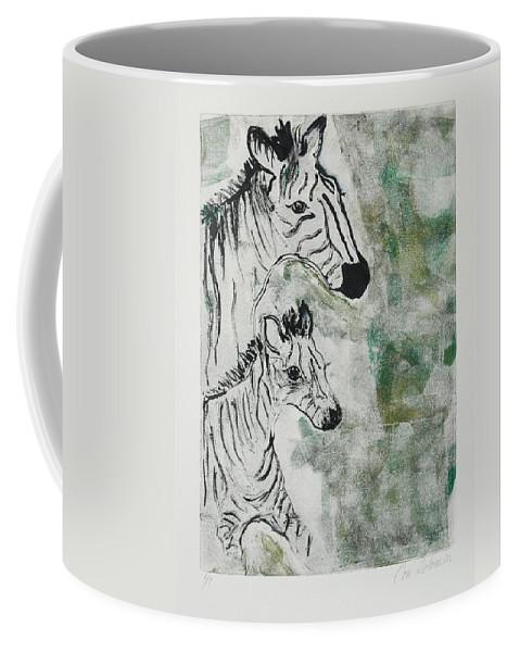 Zebras Coffee Mug featuring the mixed media Striped Duet by Cori Solomon