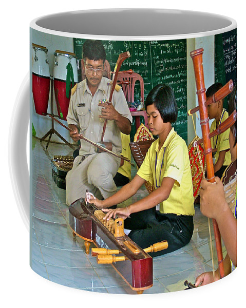 Students Playing Traditional Thai Instruments In Music Class At Baan Konn Soong School In Sukhothai Coffee Mug featuring the photograph Students Playing Traditional Thai Instruments In Music Class At Baan Konn Soong School In Sukhothai by Ruth Hager