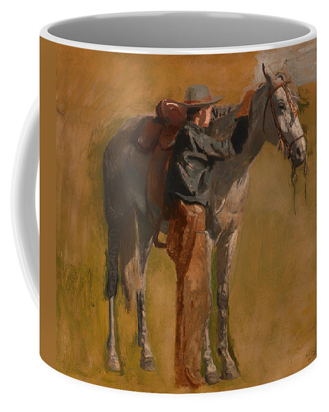 Painting Coffee Mug featuring the painting Study For Cowboys In The Badlands by Mountain Dreams