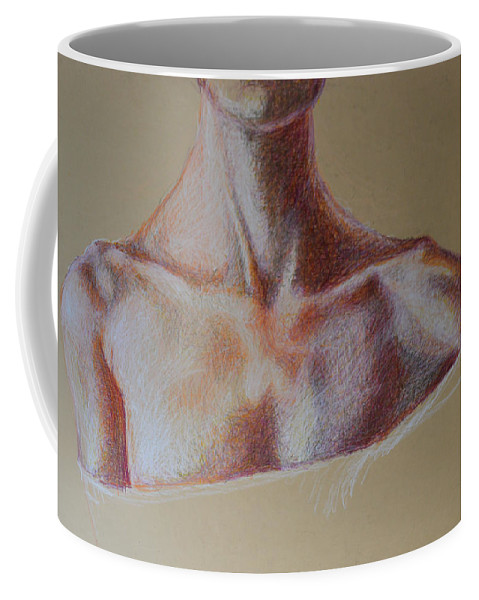 Abstract Modern Outsider Raw Folk Person Neck Shoulders Chest Coffee Mug featuring the painting Study by Nancy Mauerman