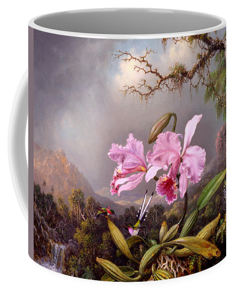 Orchid Coffee Mug featuring the painting Study Of An Orchid by Martin Johnson Heade