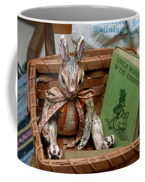 Rabbit Coffee Mug featuring the photograph Stuffed Rabbit And Uncle Wiggly Book by Amy Cicconi
