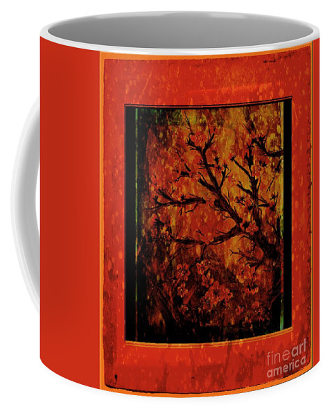 Stylized Cherry Tree With Old Textures And Border Coffee Mug featuring the painting Stylized Cherry Tree With Old Textures And Border by Barbara Griffin