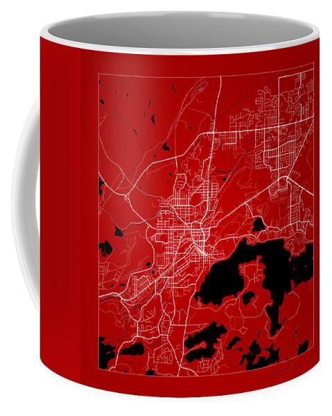 Road Map Coffee Mug featuring the digital art Sudbury Street Map - Sudbury Canada Road Map Art On Color by Jurq Studio