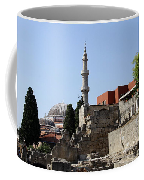 Mosque Coffee Mug featuring the photograph Sueleyman Pascha Mosque - Rhodos City by Christiane Schulze Art And Photography