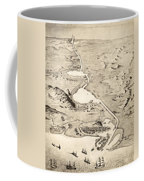 19th Century Coffee Mug featuring the painting Suez Canal by Granger