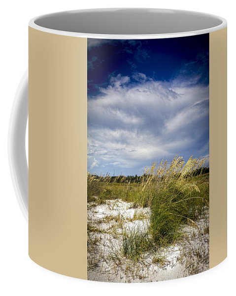 Florida Sunset Coffee Mug featuring the photograph Sugar Sand And Sea Oats Bw by Marvin Spates
