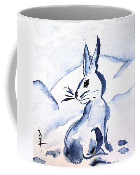 Sumi-e Snow Bunny Coffee Mug featuring the painting Sumi-e Snow Bunny by Beverley Harper Tinsley