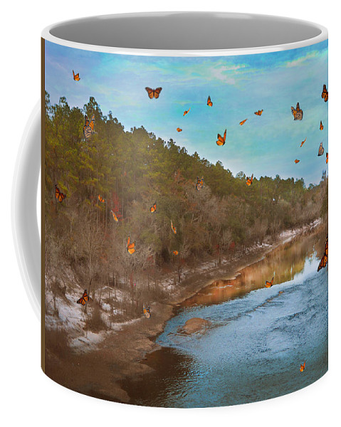 River Coffee Mug featuring the photograph Summer At The River by Judy Hall-Folde