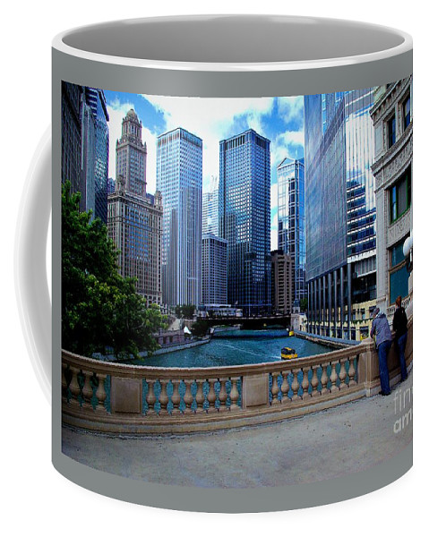 Midwest Coffee Mug featuring the photograph Summer Breeze On The Chicago River - Color by Frank J Casella