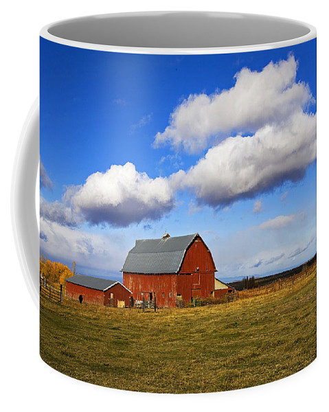 Old; Red; Wooden; Barn; Farm; Ranch; Farming; Ranching; Agriculture; Blue; Sky Clouds; Fluffy; Clouds; Outdoors; Outside; Nature Coffee Mug featuring the photograph Summer Clouds Over Farm Country I by Buddy Mays