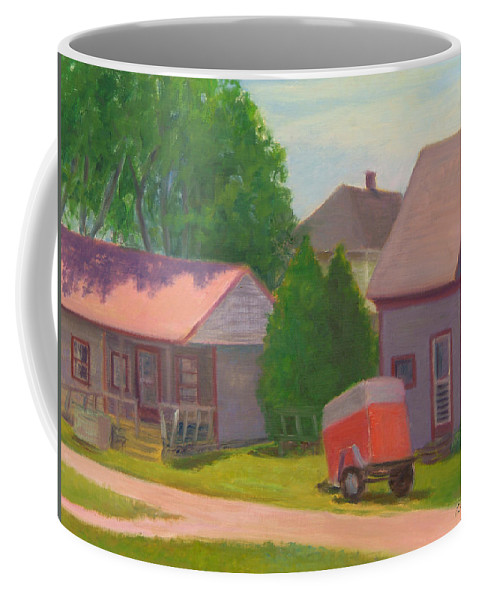 Landscape Coffee Mug featuring the painting Summer Cottages Maine by Phyllis Tarlow