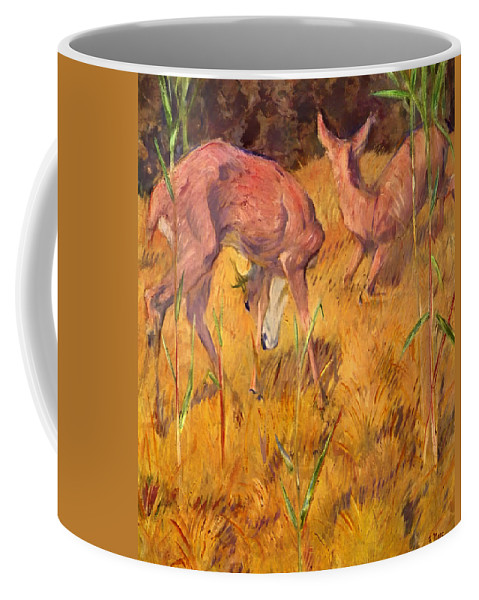 Deer Coffee Mug featuring the painting Summer Deer by Mountain Dreams