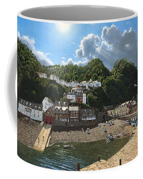 Landscape Coffee Mug featuring the painting Summer Evening Clovelly North Devon by Richard Harpum