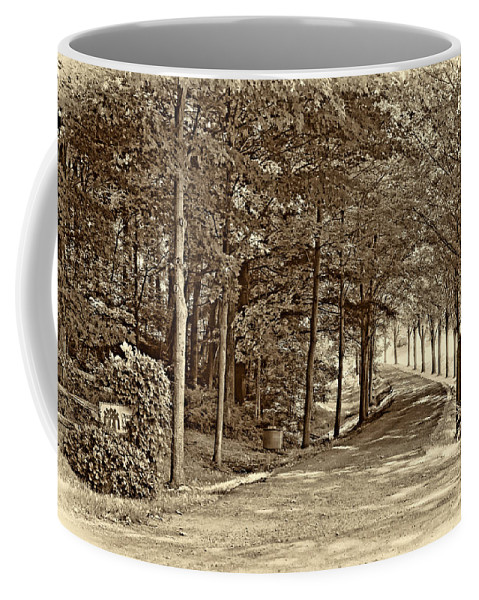 Country Coffee Mug featuring the photograph Summer Lane Sepia by Steve Harrington