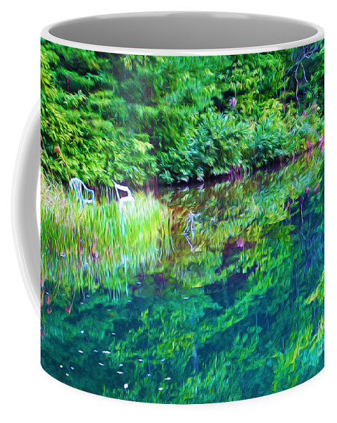 Bear Lake Georgia Coffee Mug featuring the photograph Summer Monet Reflections by Laura D Young