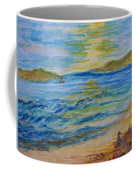 Seascape Coffee Mug featuring the painting Summer/ North Wales by Teresa White