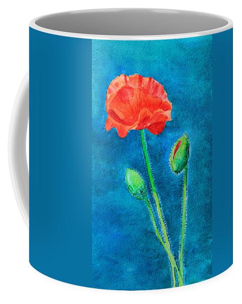 Flower Coffee Mug featuring the painting Summer Poppy by Masha Batkova