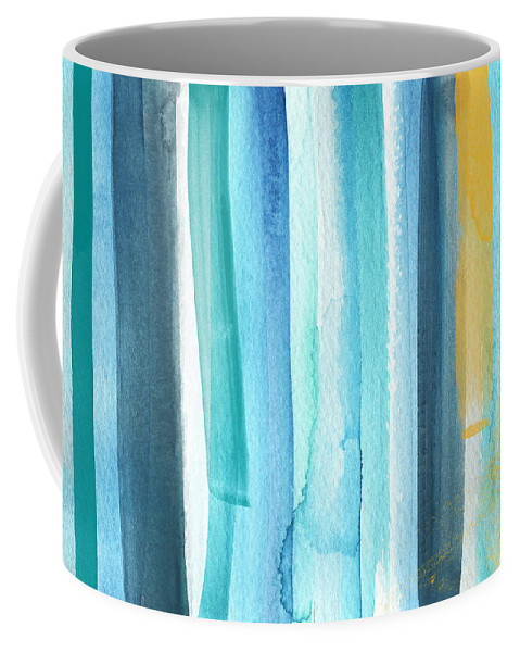 Water Coffee Mug featuring the painting Summer Surf- Abstract Painting by Linda Woods