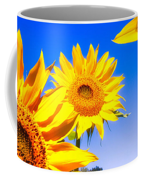 Sunflower Coffee Mug featuring the photograph Summertime Sunflowers by Bob Orsillo