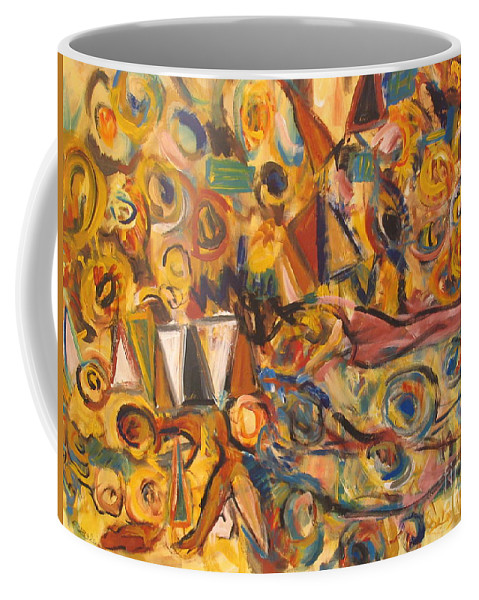 Land Scape Coffee Mug featuring the painting Sun- Bathing Among Yellow Roses by Fereshteh Stoecklein