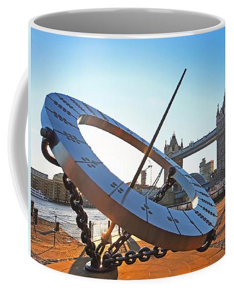 London Coffee Mug featuring the photograph Sun Dial And Tower Bridge London by Gill Billington