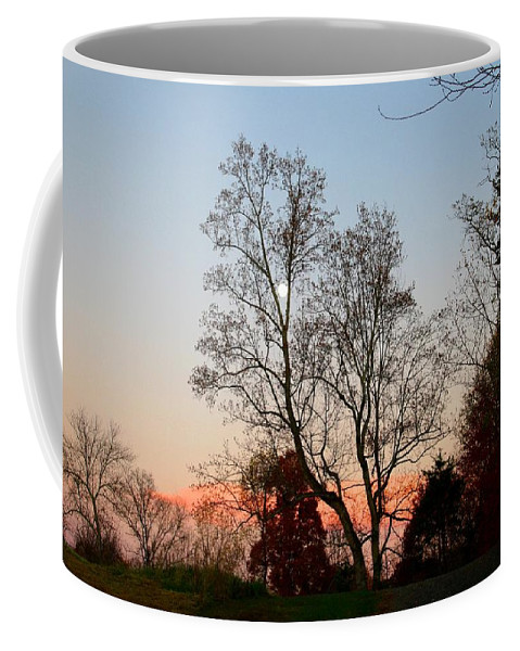 Moon Coffee Mug featuring the photograph Sun Down Moon Up by Kathryn Meyer