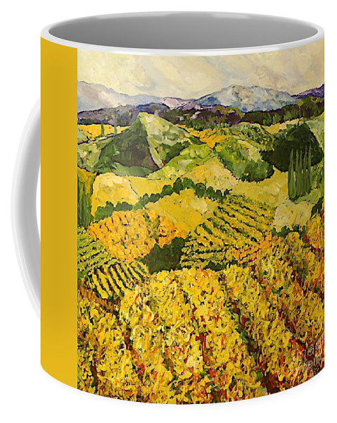 Landscape Coffee Mug featuring the painting Sun Harvest by Allan P Friedlander