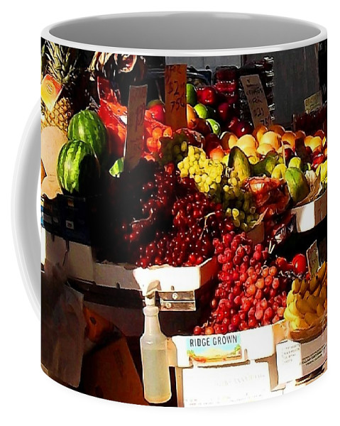 Fruitstand Coffee Mug featuring the photograph Sun On Fruit Close Up by Miriam Danar
