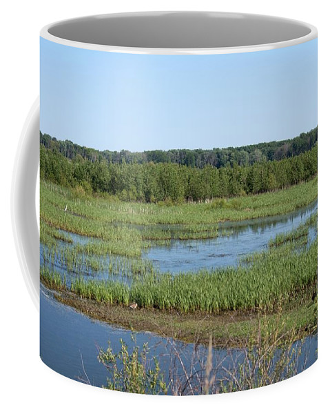 Shiawassee Wildlife Nature Park Coffee Mug featuring the photograph Sun Over Wetland by Linda Kerkau