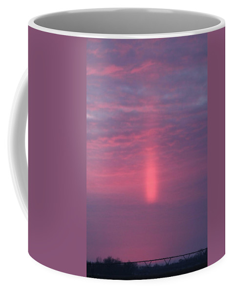 Sunsets Coffee Mug featuring the photograph Sun Pillar Vertical by Wayne Williams